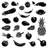 Fruits Vegetables Icons Stock Image