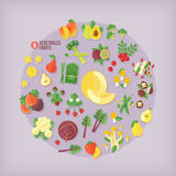Fruits and vegetables  icons collection. Royalty Free Stock Images