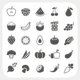 Fruits and Vegetables Icons with frame background Royalty Free Stock Image