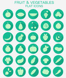 Fruits and vegetables icons. Set of flat fruits and vegetables icons set Royalty Free Stock Photography