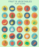Fruits and vegetables icons. Set of flat fruits and vegetables icons set Royalty Free Stock Photo