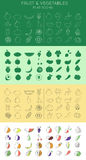 Fruits and vegetables icons. Set of flat fruits and vegetables icons set Stock Photography