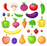 Fruits and vegetables icons Stock Photography