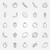 Fruits and vegetables icons Royalty Free Stock Images