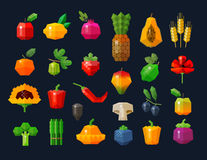 Fruits and vegetables icons set. vector. flat Stock Photography