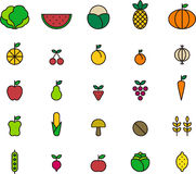 Fruits and vegetables icons. A set of fruits and vegetables icons on white background Stock Photos