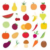 Fruits and vegetables icons set on white background for graphic and web design, Modern simple vector sign. Internet concept. royalty free illustration
