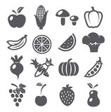 Fruits and vegetables icons Royalty Free Stock Photography