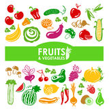 Fruits and vegetables icons Stock Photo
