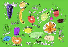 Fruits and vegetables illustration Royalty Free Stock Image