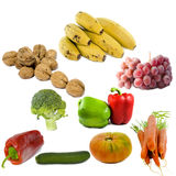 Fruits and vegetables isolated Royalty Free Stock Photos