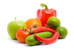 Fruits and vegetables isolated Stock Photography