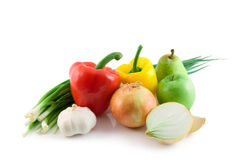 Fruits and vegetables isolated Stock Images
