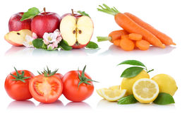 Fruits and vegetables isolated apple tomatoes fresh fruit. On a white background Stock Photo