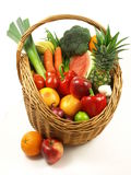 Fruits and vegetables on isolated background Stock Photography