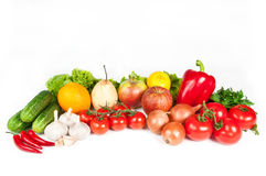 Fruits and vegetables. Isolated on a white background Royalty Free Stock Photos