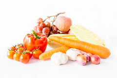 Fruits and vegetables isolated on a white background Royalty Free Stock Photos