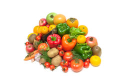 Fruits and vegetables isolated on white background Stock Photos