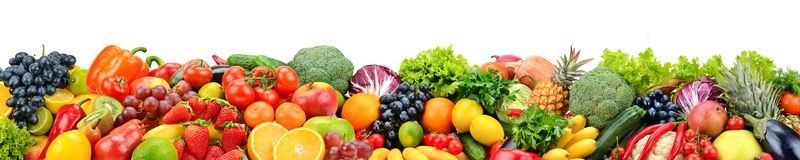 Fruits and vegetables isolated on white. Wide panoramic photo for title royalty free stock image