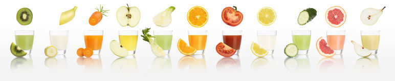 Fruits and vegetables juice glasses  isolated on white background. Diet concept and panorama web banner Stock Photography