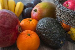 Fruits and vegetables on a kitchen table royalty free stock photography