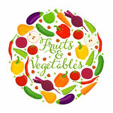 Fruits and vegetables lettering Royalty Free Stock Images