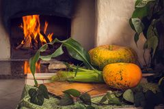 Vegetarian food. Vegetables, fruits and berries baked in the oven. Still life. Daylight. Fruits and vegetables lie on a white wooden table on the background of a stock images
