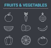 Fruits and Vegetables Line Icons Royalty Free Stock Images
