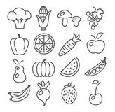 Fruits and Vegetables Line Icons Royalty Free Stock Image