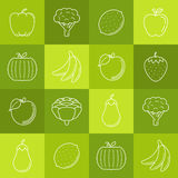 Fruits and vegetables lineart minimal vector iconset on multicolor checkered texture.  Royalty Free Stock Photos