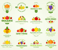 Fruits and Vegetables Logos, Labels and Design Elements Stock Photos
