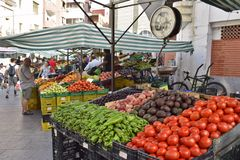 Fruits and vegetables market in Algeciras Spain stock photography