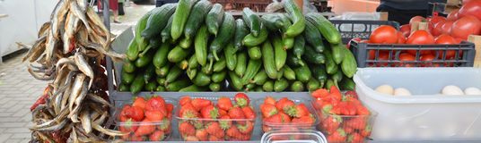 Fruits and vegetables on a market Royalty Free Stock Photo