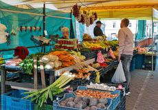 Fruits and vegetables market stalls in Banska Bystrica, Slovakia. Royalty Free Stock Photos