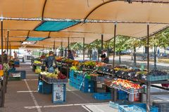 Fruits and vegetables market stalls in Banska Bystrica, Slovakia. Stock Images