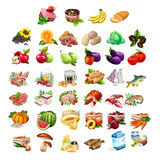 Fruits, vegetables, meat, fish and dairy products Royalty Free Stock Image