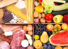 Fruits, vegetables, meat, fish and pasta Stock Photos