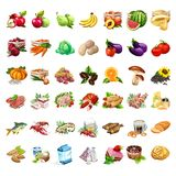 Fruits, Vegetables, Meat Products, Beer, Snack, Milk And Dessert Set. 42 Icons Of Food In Cartoon Style. Big Vector Set Royalty Free Stock Photography