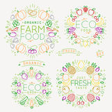 Fruits Vegetables Monograms Color Stock Image