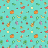 Fruits and vegetables multicolored outline vector seamless pattern. Modern minimalistic design. Stock Image