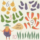 Fruits and vegetables. Nursery counting poster with cute vegetables and funny farmer in cartoon style. Six, seven, eight, nine, ten Royalty Free Stock Photo
