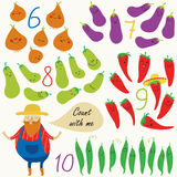 Fruits and vegetables. Nursery counting poster with cute vegetables and funny farmer in cartoon style. Six, seven, eight, nine, ten Stock Images