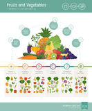 Fruits and vegetables nutrients and benefits. Infographic with vegetabels composition and icons set Royalty Free Stock Images