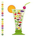 Fruits and vegetables. Nutrition. Icon set Royalty Free Stock Image
