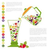 Fruits and vegetables. Nutrition. Icon set Royalty Free Stock Images