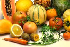 Fruits and vegetables orange coloros Royalty Free Stock Photos