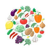 Fruits and vegetables. Organic food icons Stock Photos