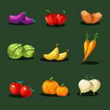 Fruits and Vegetables. Organic Food Icons Vector Royalty Free Stock Photos