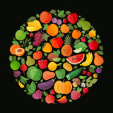 Fruits and vegetables. Organic food icons vector. Illustration Royalty Free Illustration