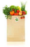 Fruits and vegetables. Paper bag full with fruits and vegetables Stock Photo